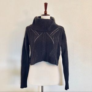 Express Olive Cropped Knit Sweater